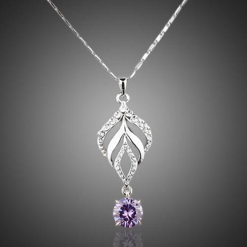 Platinum Plated Purple Water Drop Pendant Necklace
