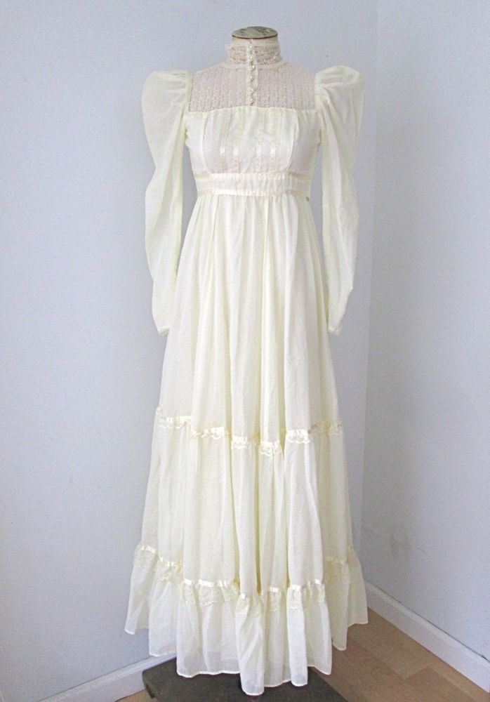 Vtg 70s Gunne Sax Ivory Lace Hippie Prairie Boho Wedding Dress Pearl Buttons 5  | eBay