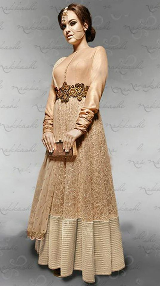 USD 144.32 Vikram Phadnis Beige Net Floor Length Anarkali Suit 44387