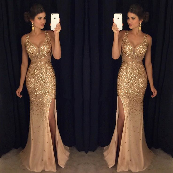 Sexy Spaghetti Straps Sweetheart Long Champagne Crystal Beaded