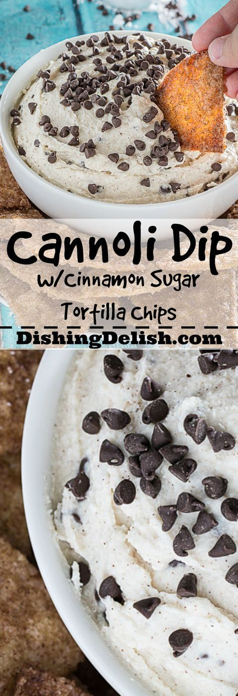 The Best Cannoli Dip Ever is seriously the easiest dessert you'll make all year. Creamy ricotta and marscapone cheese, combined with sweet powdered sugar, almond, vanilla, and chocolate chips. As a bonus, I've included my recipe for cinnamon sugar tortilla chips!