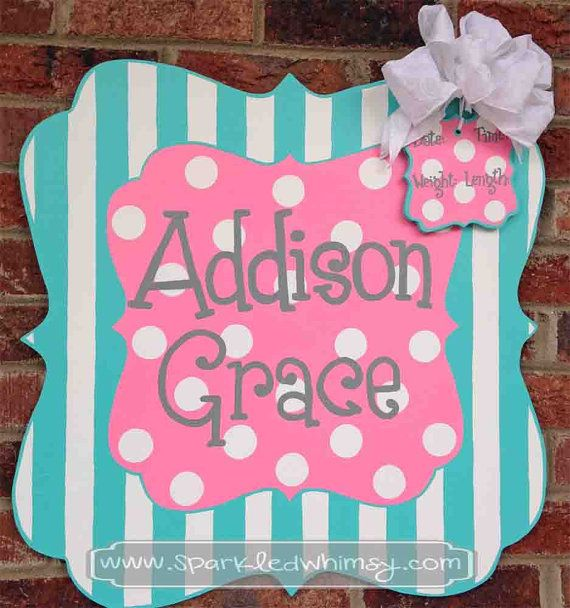 Personalized Stripe and Polkadot Baby Sign For Hospital Door (Pink/ Bright Blue) Children  Housewares  Room Decor  Sign  personalize  door decor  door hanger  door decoration  baby shower TeamEtsyBABY  baby  monogram  hospital  Sparkled Whimsy  tiffany blue  pink