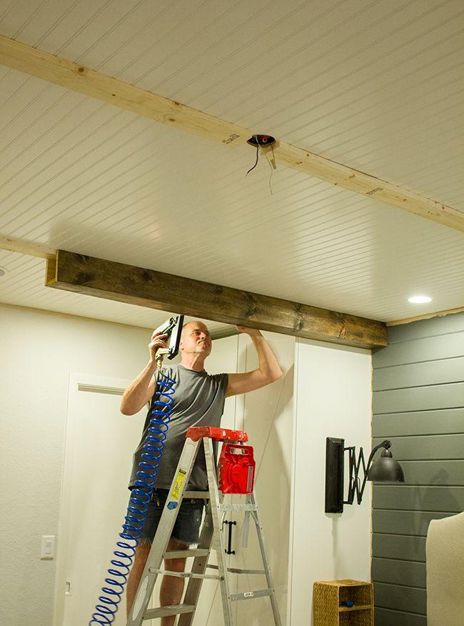 master makeover diy wood beams beams dads and diy wood - Fake Beams For Ceiling