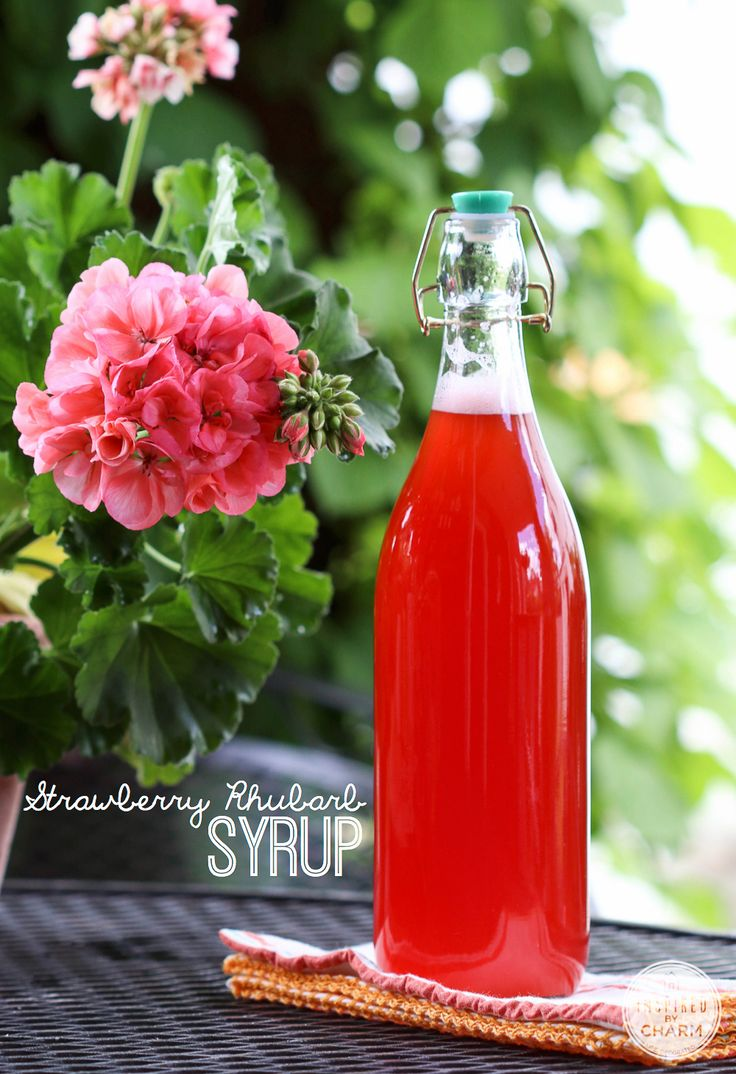 Strawberry Rhubarb Syrup - this stuff is delicious! Great in a cocktail recipe, soaked into a cake, or simply poured over ice cream.