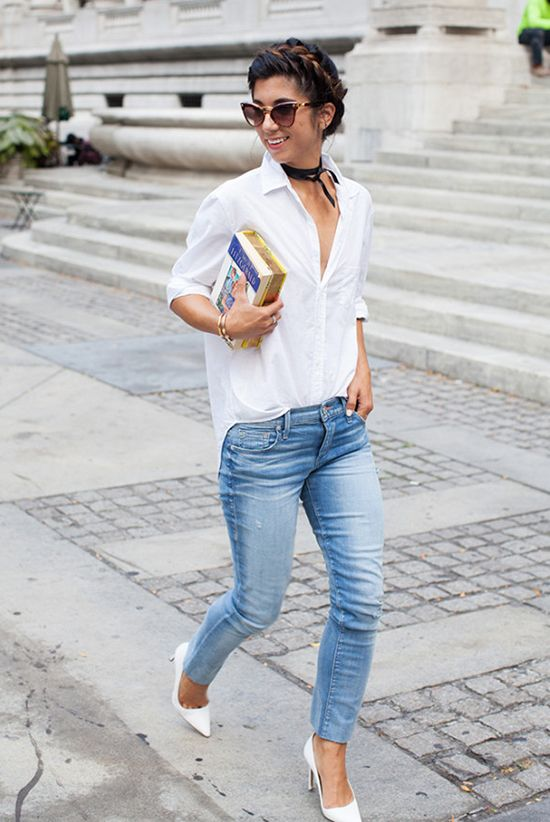 spring outfit, summer outfit, simple outfit, easy outfit, casual outfit, white shirt outfit, street style, street chic style - white shirt, skinny jeans, white heels, brown cat eye sunglasses, book clutch, black satin choker necklace