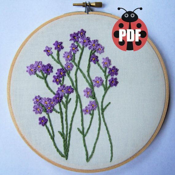 The Purple Flower Patch Pattern Is Perfect For The Blooming Embroidery Artist Who Loves Wildflowers Hand Embroidery Flower Embroidery Designs Embroidery Motifs