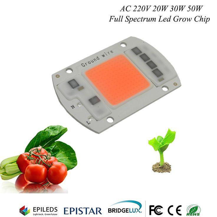 1 pcs hydroponice ac 220 v 20 w 30 w 50 w led tumbuh chip spektrum penuh 380nm-840nm untuk indoor tanaman tumbuh