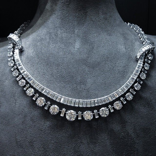 Boucheron Circular and Baguette-cut Diamond Necklace, c.1955 #boucheron…