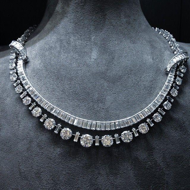 Boucheron Circular and Baguette-cut Diamond Necklace, c.1955 #boucheron…