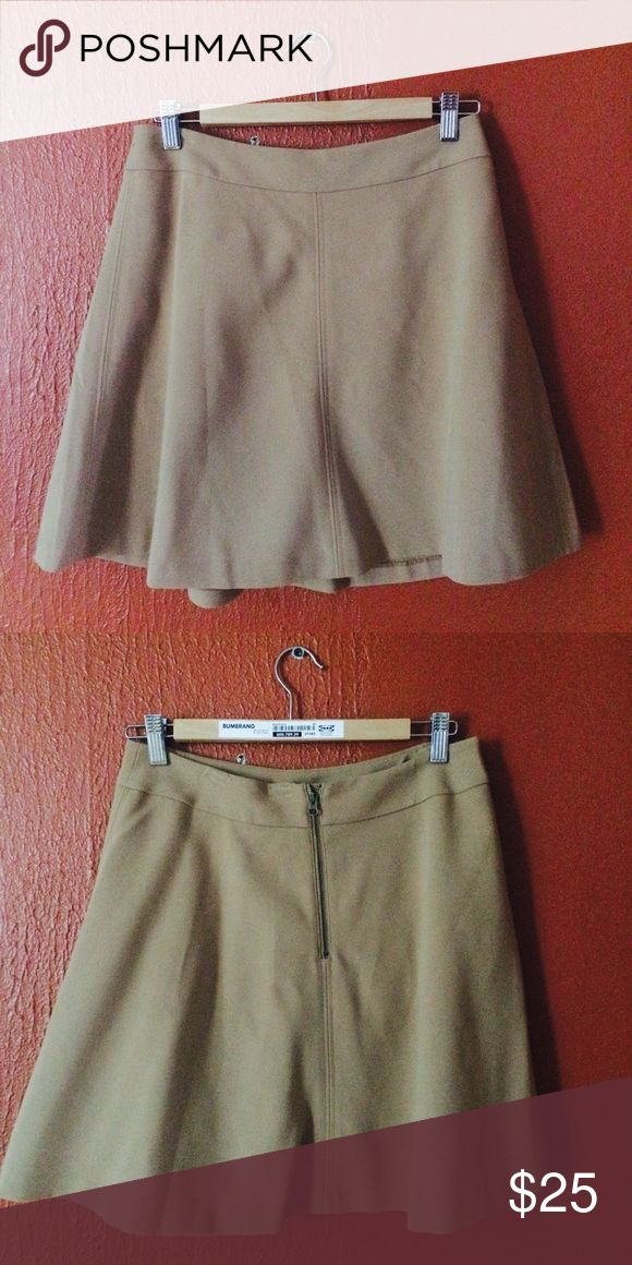 Camel LOFT flare skirt Barely worn camel-colored short flare skirt. Size 4. LOFT Skirts Mini