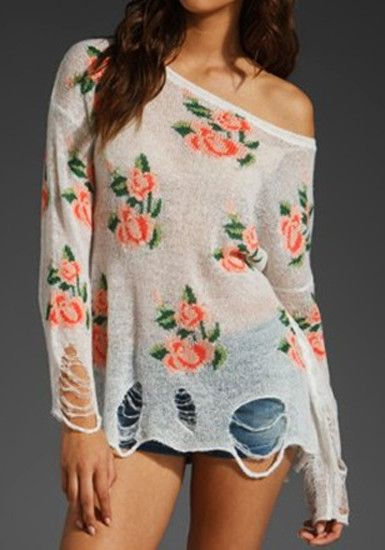 Floral Frayed Cuffs Top-White @LookBookStore