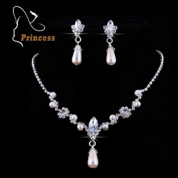 Fashion Alloy Necklaces Earrings Rhinestone Wedding Rhinestone Bridal Jewelry Sets Wholesale Jewellery For Women B5