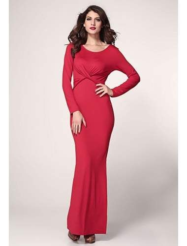 Red Maxi Dress with Twist Detail | buy sexy Club Dresses , Club wear online in india | StringsAndMe