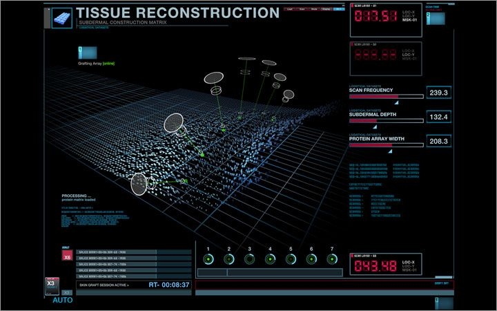 Production and post production screen graphics. Screen Design Interactive Playback Looping Elements note:3D models provided by production.