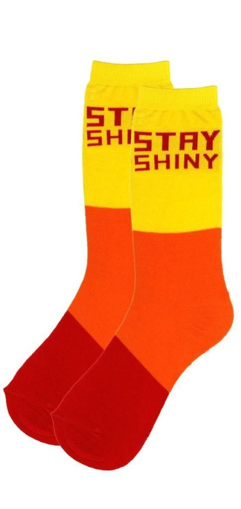 If you loved the cult Fox Network TV series Firefly then you'll want to own these officially-licensed Firefly Stay Siny Socks.    Featuring the classic catchphrase from the show across the ankle, these red, orange, and yellow Firefly cult tv series cosplay socks are perfect for the Firefly fan who wants to express their love for all things Nathan Fallon, Firefly, and science fiction television.