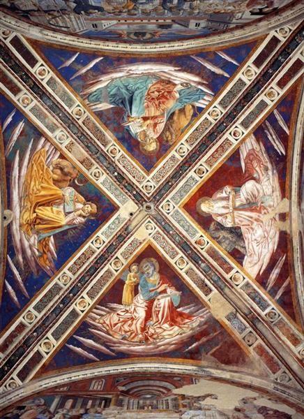 The Four Evangelists, 1464-1465 - Benozzo Gozzoli. BENOZZO GOZZOLI (1421 - 1497) - St. Mark. Vault of Apsidal Chapel of Sant' Agostino, San Gimignano, Italy. Veneda = Red underdrawing/ pigmentlayer underneath (reduced) blue surface.