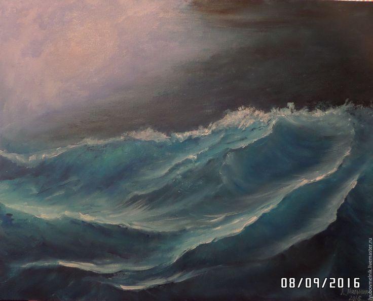 Купить Морские волны - тёмно-синий, море маслом, картина маслом, волны картина