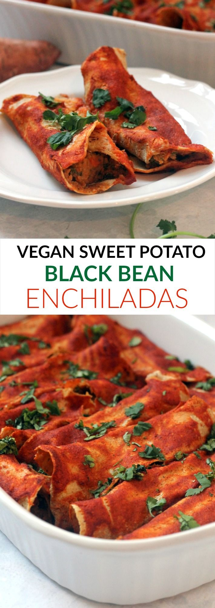 These VEGAN Sweet Potato Black Bean Enchiladas are the perfect crowd pleasing entree! Full of flavor and plant protein. Can be made gluten-free!
