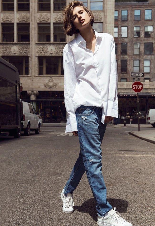 """La chemise blanche, le petit supplément """"classique chic"""" de nos looks casual - http://bit.ly/1rqHc9d Tags : Chemise, Casual - Tendances de Mode"""