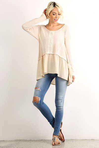 Just restocked We love our Alia pullover for its comfy cozy fit. Its lace detailing is the perfect amount of bohemian details making this a top you simply can't go wrong with! #springfashion #streetstyle