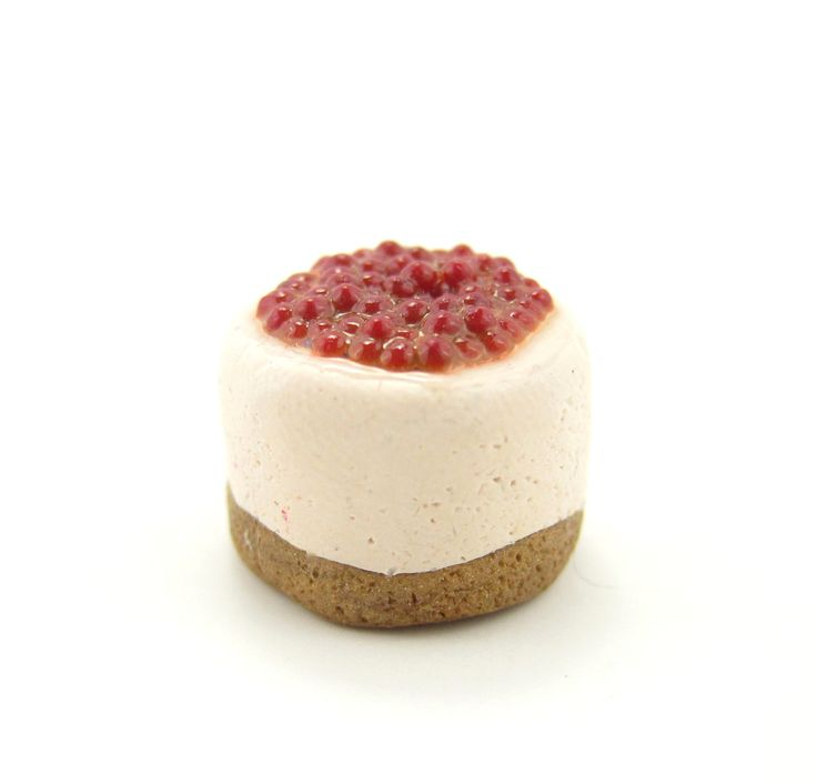 Miniature Cherry Cheesecake Polymer Clay Dollhouse Cake | Brown ...