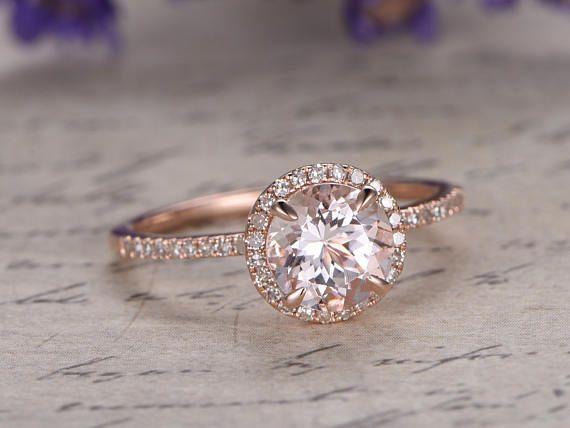 Morganite bague de fiançailles avec diamant massif 18k Rose