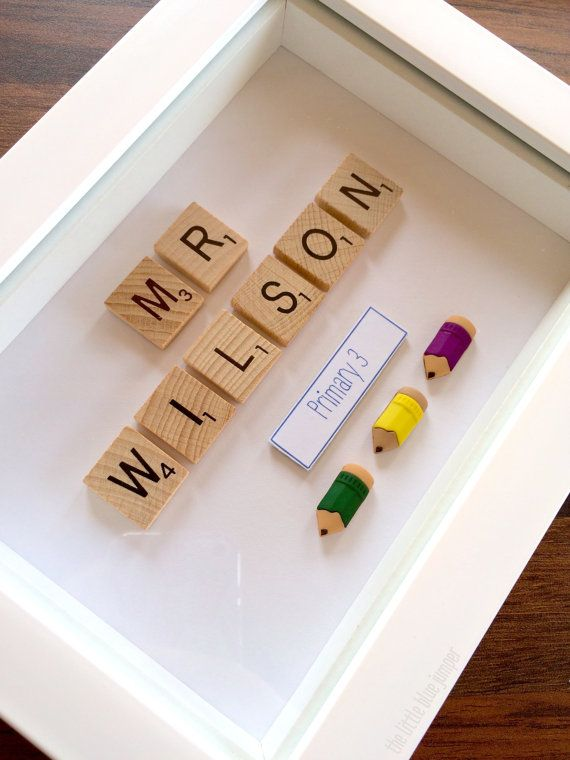 Personalised Teachers Gift - Scrabble Style Art [7x5 box frame] A personalised teachers desk sign, perfect for end of school gifts! Any name and message that you wish! This frame size can accommodate surnames up to 8 letters but we also have a slighty larger frame size available for longer names - just send us a message for info :)     Check out our facebook page for more of our designs and custom gifts. >> https://www.facebook.com/pages/The-Little-Blue-Jumper/777459512331158?ref=hl