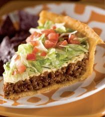 Taco Pie 1 can crescent rolls 1 cup crushed tortilla chips 1 lb ground beef 1 pkg taco seasoning 1 cup sour cream 1 cup shredded fiesta blend cheese chopped lettuce and tomato Heat oven to 350. Brown ground beef, drain, add taco seasoning, Press crescent rolls into a pie plate forming a crust. Spread 1/2 cup crushed tortilla chips on bottom of the crust. Top chips w/beef. Spread sour cream over meat. Top w/cheese & remaining chips. Bake 30 min, Serve topped w/lettuce, tomato