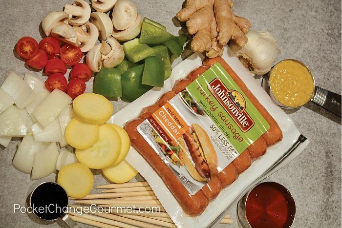 Ingredients for Turkey Cheddar Sausage Kabobs
