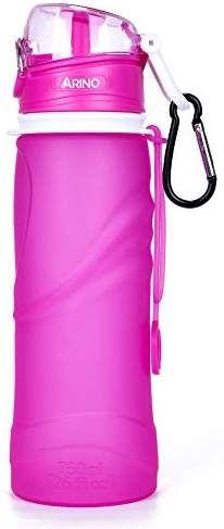 ARINO Trinkflasche BPA Frei Faltbare Silikon Flasche Mehrzweck Squeezable Wasserflasche 750ml Sportflasche mit Schutzkappe und Karabinerhaken für Camping Wandern Outdoor Reise Sport Jogging