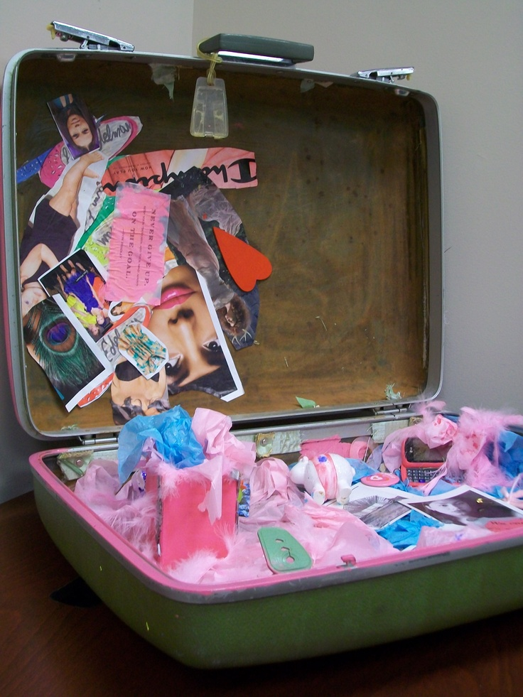 "The Suitcase Project Exhibit. Women in InterAct's Domestic Violence Education Support Groups who have created visual art displays, depicting the ""baggage"" victims take with them when they flee abusive relationships."