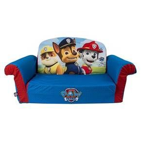 Preschoolers can sit, lounge, and relax on their very own sofa along with their favorite Pups with the Paw Patrol Marshmallow Flip-Open Sofa. Just the right size for toddlers, the lightweight polyurethane foam sofa with removable polyester fabric slip-cover stands about 10 inches tall, 28.5 inches wide, and is 16 inches deep. It's decorated with a blue pattern and features Marshal, Chase and Rubble on the front. Kids can use it as a traditional sofa / chair or have fun flipping the s...