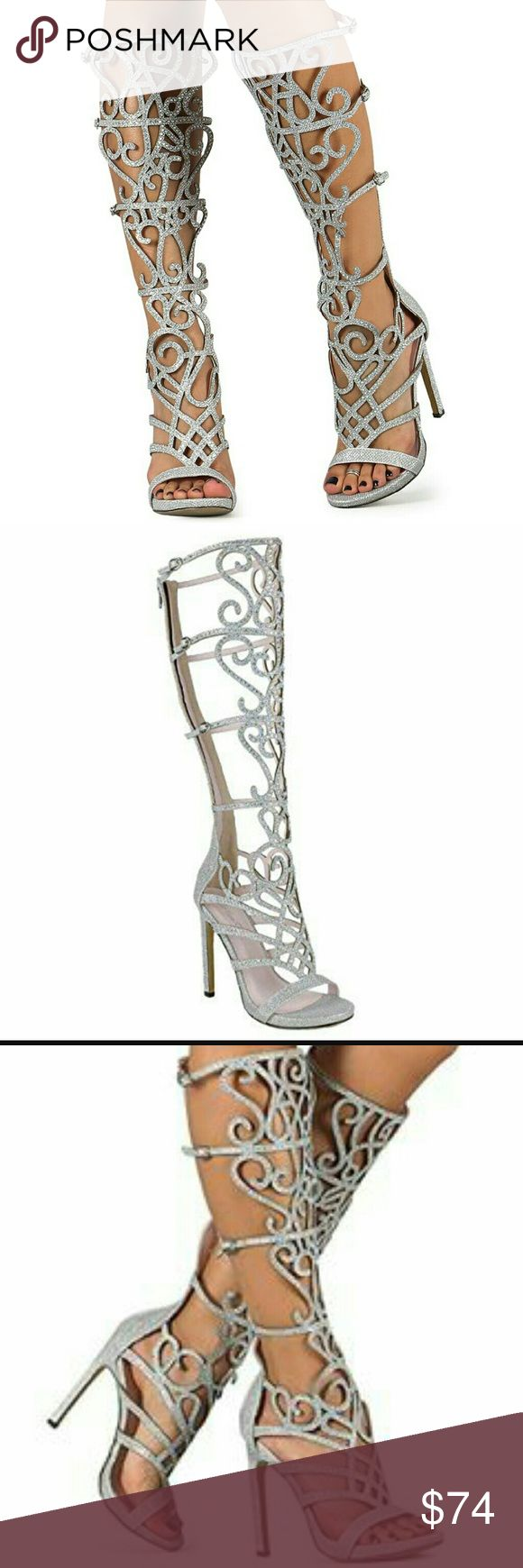 Gladiator knee-high silver rhinestone heels Pictures do No its justice on how SPARKLY ???? THESE SHOES ARE !! The silver design is covered in silver sparkles + rhinestones . ?GIVES GOOD SUPPORT ? GOOD GRIP  ? SIZE : 6.5 BUT FITS A 7 AS WELL WITH ENOUGH ROOM LEFT OVER ! unbranded Shoes