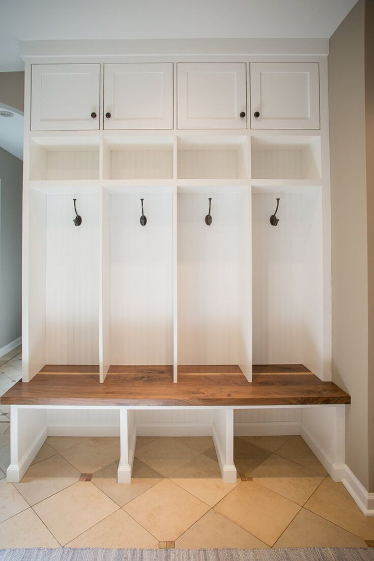 Mudroom-bench-storage-walnut-builtin-shaker-inset                                                                                                                                                                                 More