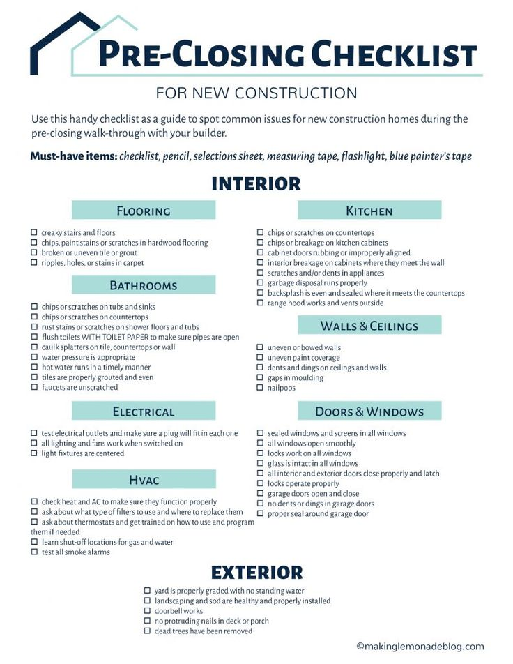 Best 25 checklist for new home ideas on pinterest new for Home owner builder checklist
