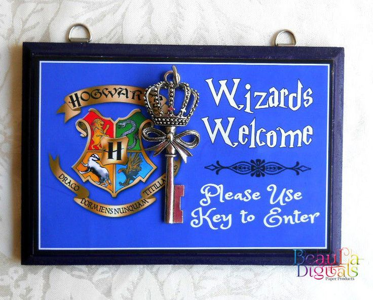 Harry Potter Wizard Door Sign - Wood & Sticker Paper with Door Key- Blue color