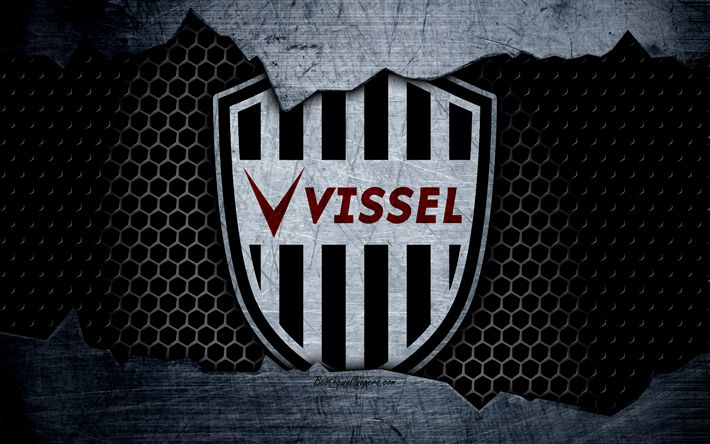 Download wallpapers Vissel Kobe, 4k, logo, art, J-League, soccer, football club, FC Kobe, metal texture