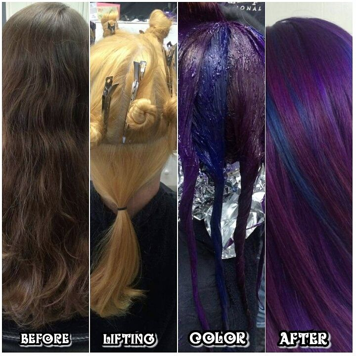 Cosmic Purple and Blue Pinwheel Hair Color : I did a pinwheel with a solid panel underneath in the back.  I used Pravana Vivids and Joico Intensities and made violet,  blue violet and blue to rotate.