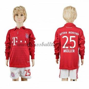 Kinder Fussball Trikot Bayern Munich 2016-17 Muller 25 Heim Trikotsatz langarm