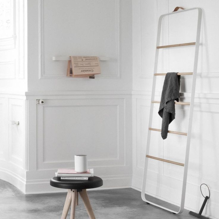 Menu Towel Ladder by Stem | We love it for its simplicity and portability. It can be a statement piece whilst answering all your storage and space saving needs. #towelrail #spacesaver #accessoriesrack #clothesrack