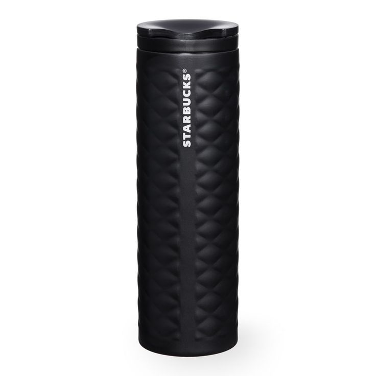 A slender stainless steel coffee tumbler with a smooth quilted texture and black finish.