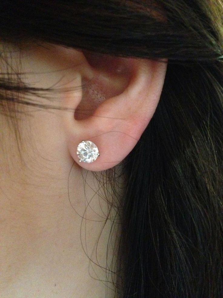 2 CARAT Round Diamond Stud Earrings D/VS1 14K White Gold 3 prong martini WEDDING #yuval4461 #Stud
