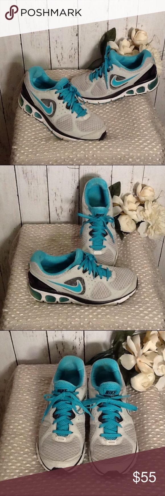 Nike Air Max Athletic Shoes Size 7 Blue Gray Great pair of Nike Air Max ladies running shoes, beautiful color of teal blue, gray and white, nicer in person, retailed new for approx $150, very gently worn condition, plenty of wear left, soles are in good c