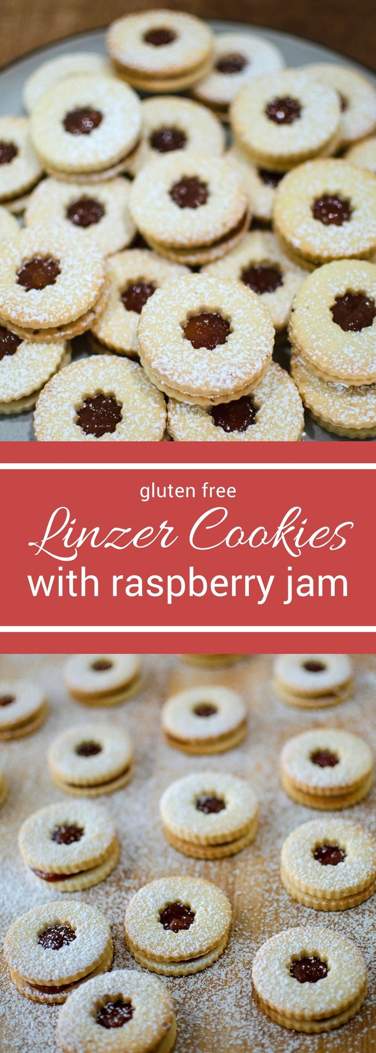 Buttery gluten free short bread cookies and raspberry jam make for one delicious cookies! These gluten free linzer cookies are so delicious no one will guess they're gluten free