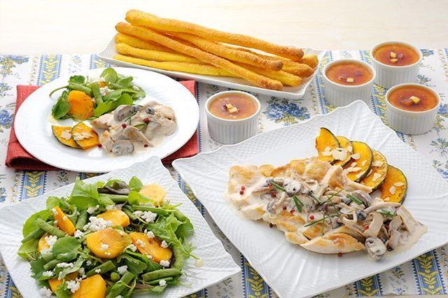 10月のパーティーメニュー 🎉 ふっくらジューシーに焼きあがったお肉にきのこクリームソースをたっぷりかけた鶏肉のポワレ、かぼちゃのソテーを付け合せに。柿、かぼちゃ、さつまいもと実りの秋を満喫するパーティーメニュー! 🐓鶏肉のポワレ きのこクリームソース 🎃焼きかぼちゃのカリカリアーモンド 🎃柿とグリーンリーフのサラダ 🎃かぼちゃのグリッシーニ 🍠スイートポテトプリン #パーティー #パーティーメニュー #メニュー #ホームパーティー #10月 #肉 #鶏肉 #ジューシー #きのこ #きのこクリーム #かぼちゃ #カボチャ #🎃 #アーモンド #柿 #さつまいも #🍠 #秋 #秋の味覚 #旬 #季節 #季節の食材 #グリッシーニ #手づくり #ホームメイドクッキング #パン教室 #料理教室