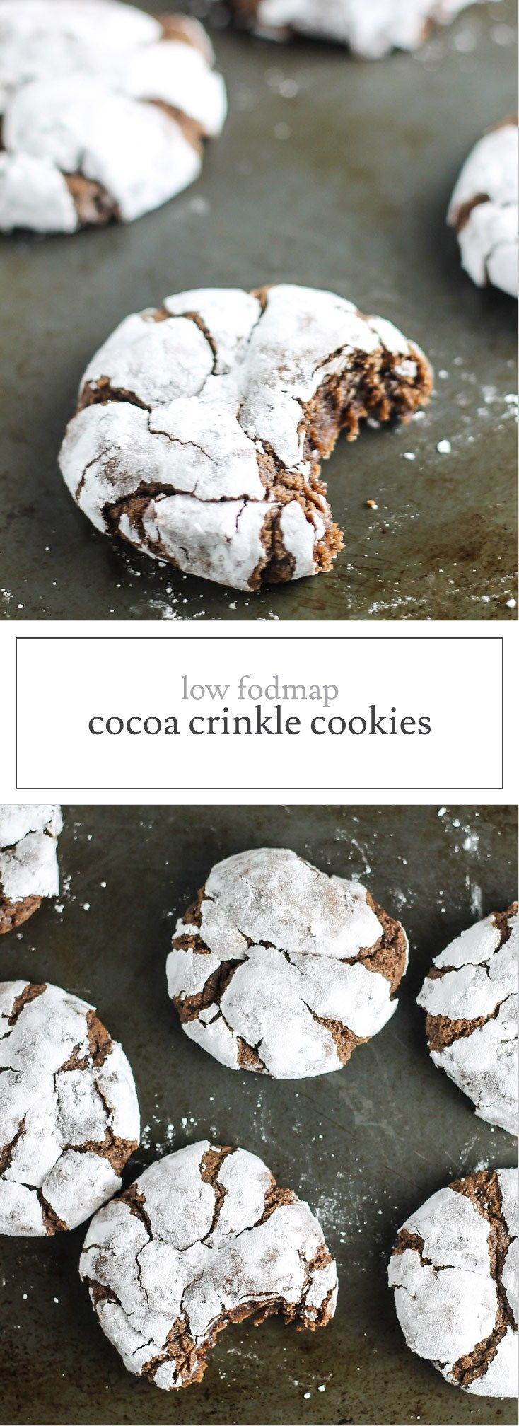 Gluten-free, dairy-free and pure deliciousness!, these Low FODMAP Cocoa Crinkle Cookies are SOO good - no one will know they're allergen friendly!