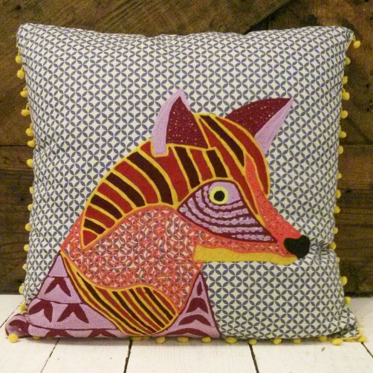 Fox Pillow; different patterns sewed/ironed on, pom-pom border