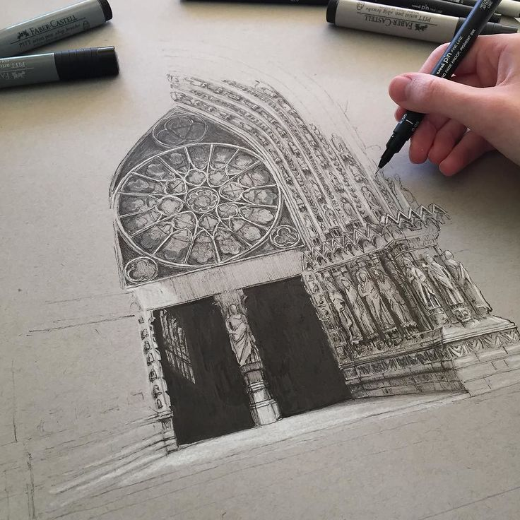 #art #drawing #pen #sketch #illustration #linedrawing #paris #architecture #cathedral #gothicarchitecture