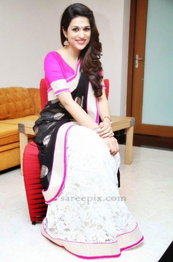 Telugu heroine Shraddha das in white and black half and half saree at Kashh traditional fashion show in Hyderabad