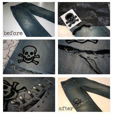 Revamp boys jeans tutorial: Crafts Ideas, Good Ideas, Skull Boys, Jye Ideas